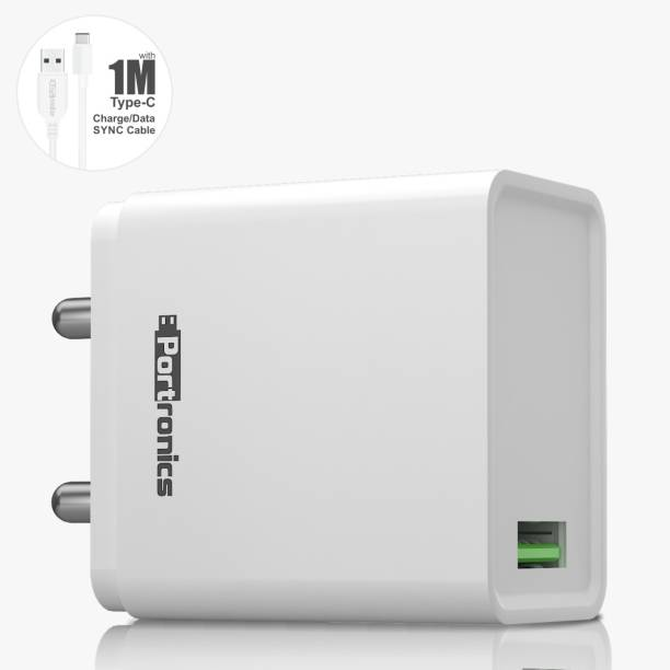 Portronics POR-1104 ADAPTO ONE 18 W 3 A Mobile Charger with Detachable Cable