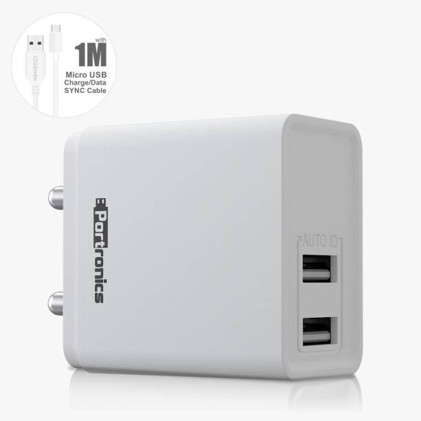 Portronics POR-648 ADAPTO 12 W 2.4 A Multiport Mobile Charger with Detachable Cable