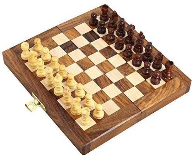 India wood mart Best Wooden Handcrafted Chess Board With Chessmen For Kids Strategy & War Games Board Game