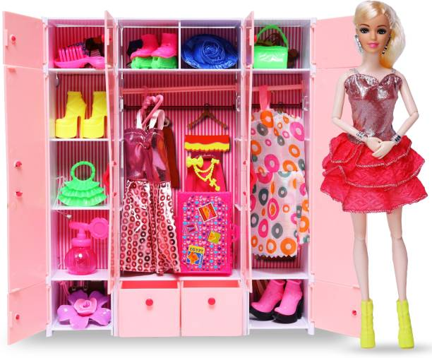 Wishkey Doll With Complete Wardrobe Set Full Of Dresses and Accessories for Girls