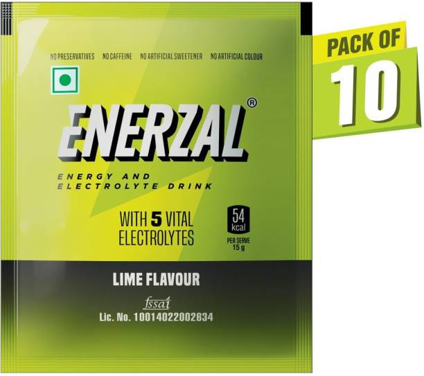 Enerzal Energy Drink Powder Lime Flavour 50 GM Each (Pack of 10) Energy Drink
