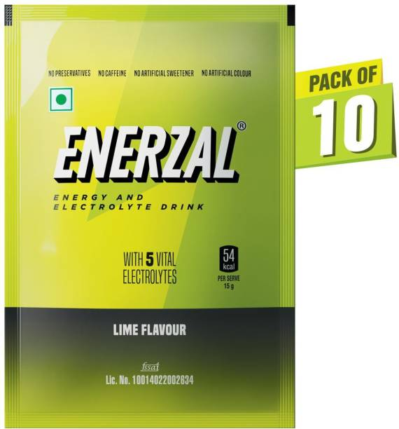 Enerzal Energy Drink Powder Lime Flavour 100 GM Each (Pack of 10) Energy Drink