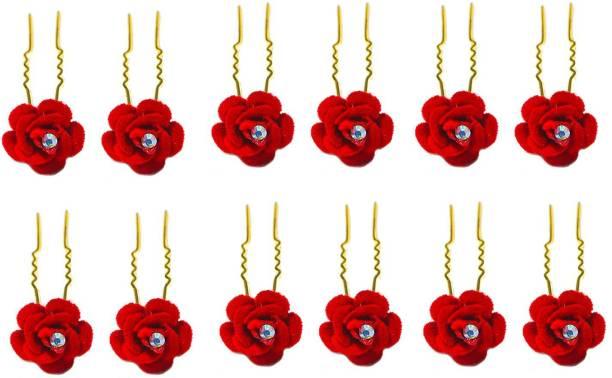 Herbisense Hair Pins for Women/Bridal Hair Accessories for Women and Girls/Juda Pins for Women (Red 12 pc) Hair Pin