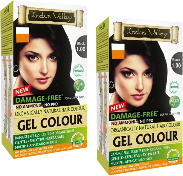 Indus Valley Organically Natural Extra safe Gel Black (Twin Pack) , Black 1.00