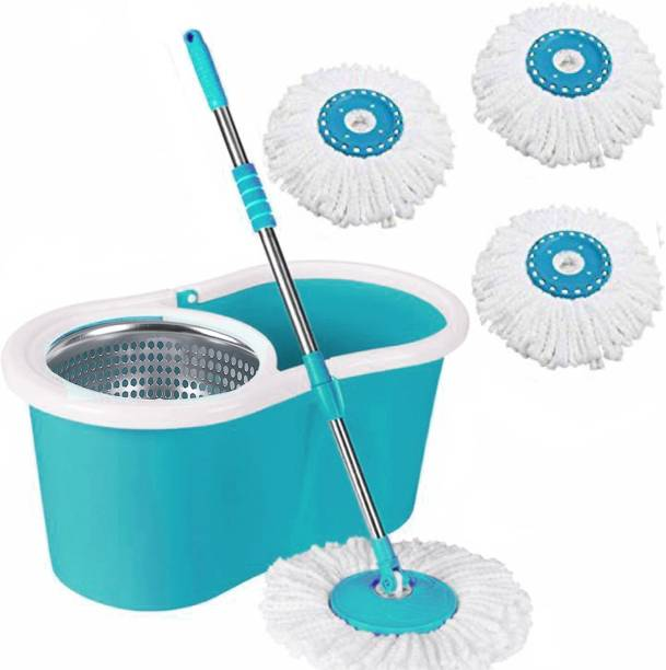 V-MOP Classic Magic Dry Bucket Spin Clean Mop- 360 Degree Self Spin with 3 Reffil for Home and Offices Mop Set