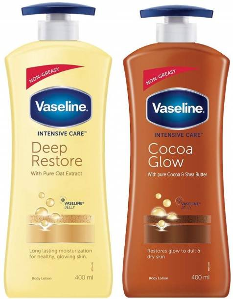 Vaseline Deep Restore and Cocoa Glow Body Lotion ( 2 Pack, 400ml each)