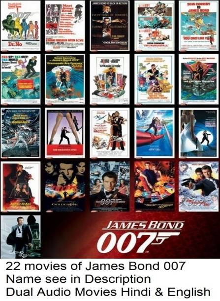 James Bond Series ( 22 Movies Pack name see in Description ) in Hindi & English HD Print it's burn data DVD play only in computer or laptop not in DVD or CD player it's not original without poster