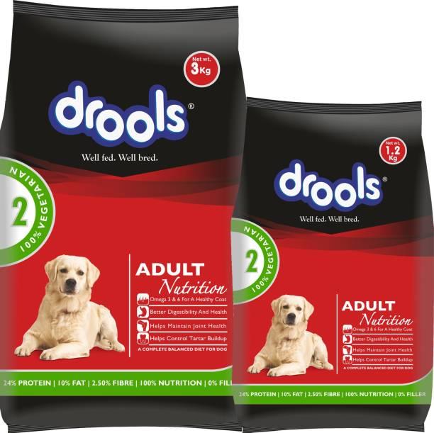 drools 1.2 kg dog food free with Drools 3 kg 100% Vegetable 4.2 kg Dry Adult Dog Food