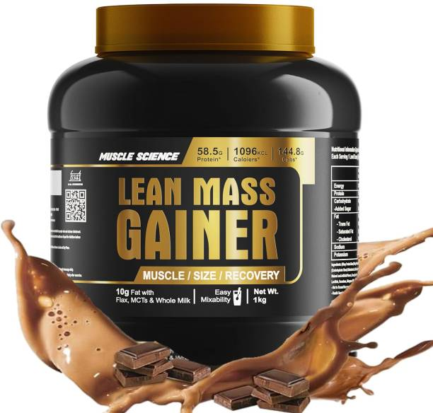 Muscle Science Lean Mass Gainer (Chocolate Fudge, 1 Kg / 2.2 lb) Weight Gainers/Mass Gainers