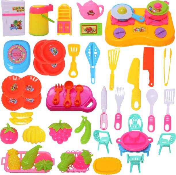 Wishkey Cookware Pretend Play Kitchen Set Educational Toy with Colorful Accessories for Kids -50 Pieces
