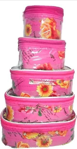 Rasafa Pack of 5 Fashionable High quality Makeup Kit box, Spacious interior, Bangle Box, Vanity box Vanity Box