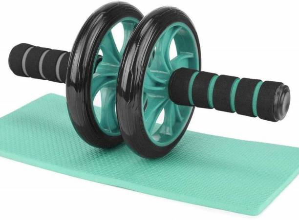 SECOM Anti Skid Double Wheel AB Roller Exerciser with Knee Mat Steel Handle Ab Exerciser