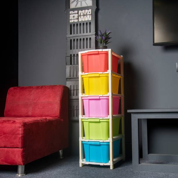 Foxter Plastic Free Standing Chest of 5 Drawers (Finish Color - Multicolor) Plastic Free Standing Chest of Drawers