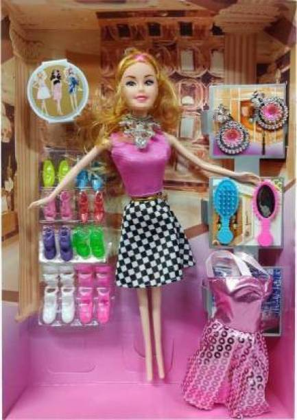 IFW barbie doll with doll house accessories and shoe set