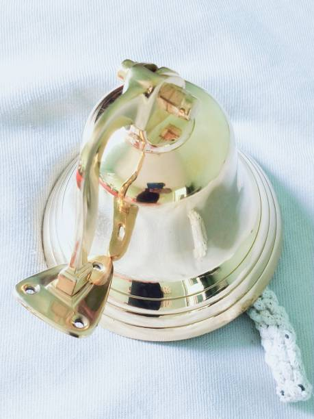 "SHAIMPERIAL ENTERPRISES Nautical 6"" Brass Antique Plated Hanging Ship's Bell Nautical Home Decor Item Door Door Window Alarm"