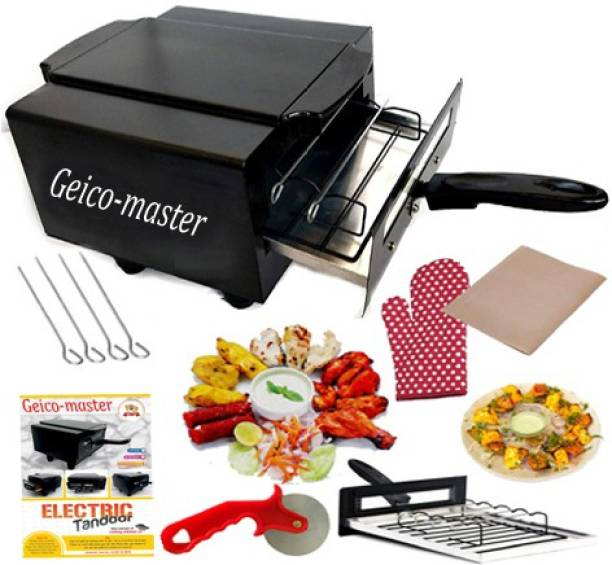Geico master Small Electric Tandoor with Pizza Cutter,Magic Cloth,Aluminium Trey,Shock Proof Rubber Legs,Recipe Book Absolutely Free Electric Tandoor