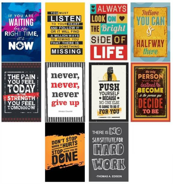 Motivational Posters for Office and Study Room (Paper, 12x18-Inch ) - Set of 10 Paper Print