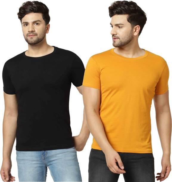 3SIX5 Solid Men Round Neck Black, Orange T-Shirt
