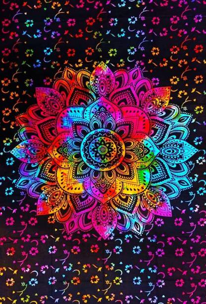 Heyrumbh Handicrafts Flower Mandala Hippie Psychedelic Boho Bohemian Cotton Decorative Wall Hanging Tapestry Poster 40 X 30 Inches Tapestry