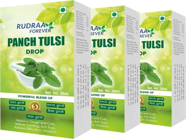 RUDRAA FOREVER PANCH TULSI DROPS 30ml Each FOR Cold, Cough AND FEVER PACK OF 3 Combo offer