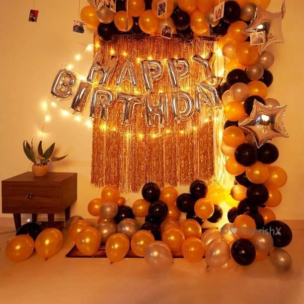CherishX.com Solid Silver Foil Happy Birthday Letters, Golden Foil Curtain, Silver Star Foil Balloon, Golden Silver & Black Balloon, Led Light & Balloon Pump 95Pc DIY Kit Balloon