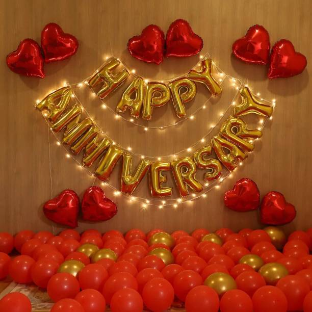 DECOR MY PARTY Solid Happy Anniversary Golden Letter Foil Balloons Set with Heart Shape Foil , Battery Operated Fairy Light for Wedding Anniversary Celebration , Room Decorating Items Marriage Theme Decorative Foil Letter Balloon