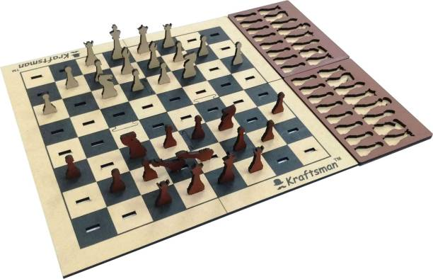 Kraftsman Wooden Portable Chess Board Game Set for Kids and Adults of all age groups 0.5 cm Chess Board