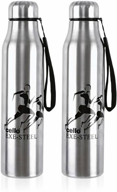 cello Goldie Stainless Steel Water Bottle Set, 1 Litre, Set of 2 pcs, Silver 1000 ml Bottle