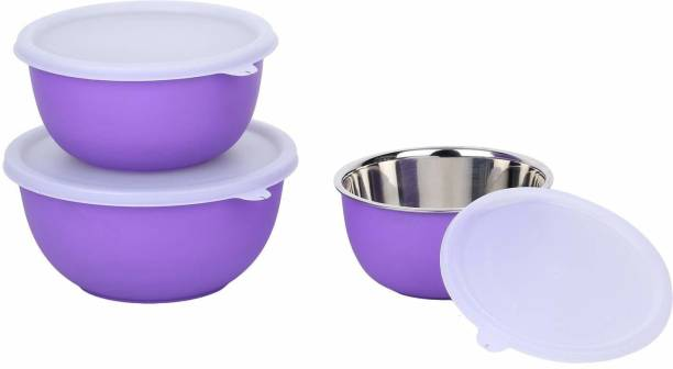 Zaib MICROWAVE SAFE PURPLE BOWL SET OF 3 Microwave Safe Plastic Coated Euro Bowls with LID Stainless Steel, Polypropylene Serving Bowl (PURPLE, Pack of 3) Stainless Steel Storage Bowl