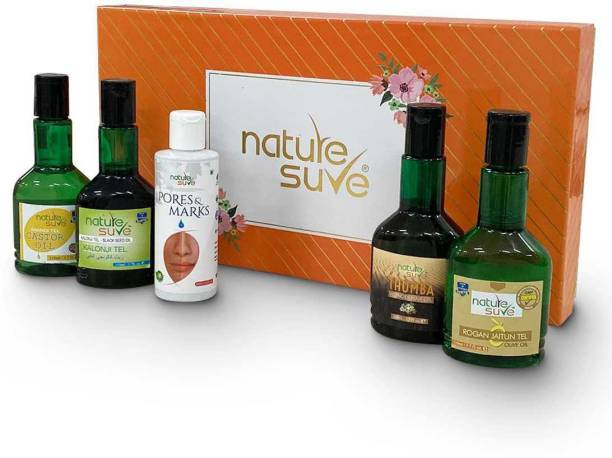 Nature Sure Gift Pack – Premium Ayurvedic Oils for Face, Hair and Body – 1 Box (5 Oils)