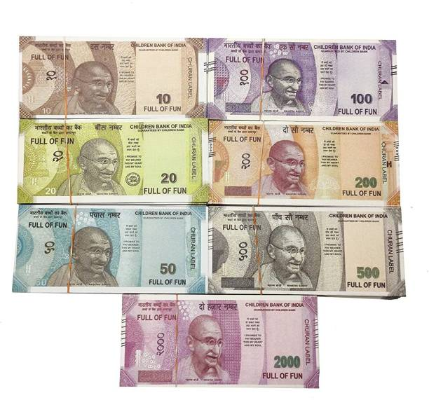 Bizmen indan fake currency /dummy note (each note 50ps)50-500-200-2000-10-20-100 Notes Money Gag Toy (Multicolor) Dummy Currency 350 Note for Kids Gag Toy