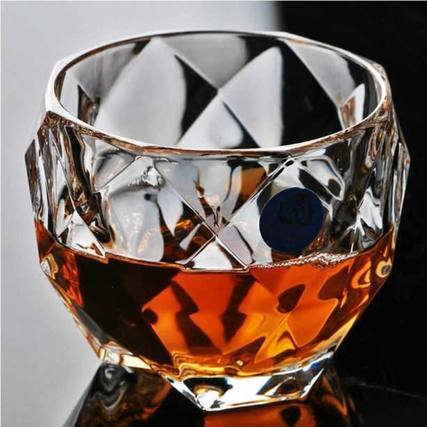 FLANK (Pack of 2) Diamond cut Whiskey Glass, Unique Cool Crystal Rocks Whiskey Glasses for Scotch, Bourbon, Vodka, Liquor(set of 2)(300 ml) Glass Set
