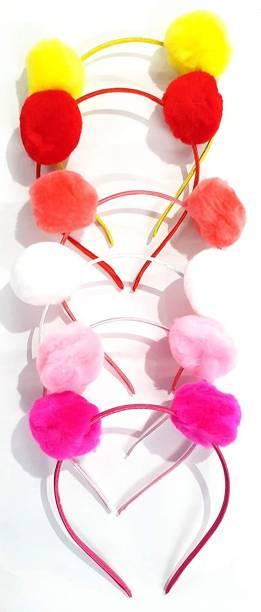 RosaStella Hair Accessories Korean Style Pom Pom Fur Plastic Hairband Headband for Girls and Woman SET OF 6 - Hair Band
