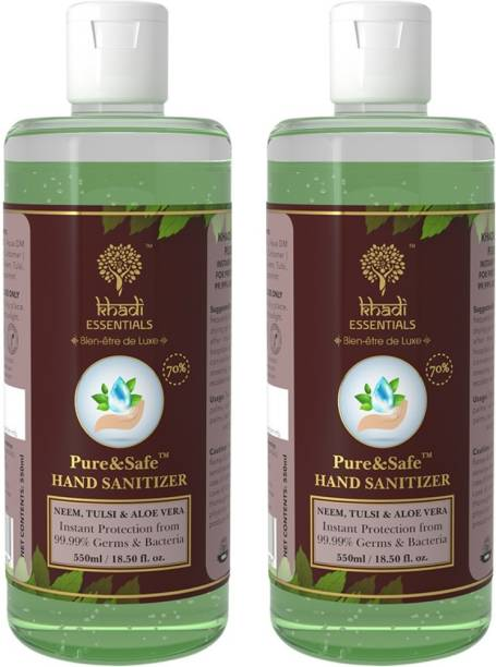 Khadi Essentials Pure&Safe Combo of Instant  Gel 70% Ethyl Alcohol, Neem, Tulsi & Aloe Vera Extracts with Glycerin Hand Sanitizer Bottle