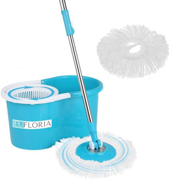 EUFLORIA 360 degree Spin Mop With 2 Refills, Durable Bucket With Extendable Handle- For Perfect Cleaning Mop Set, Mop Mop Set Mop, Bucket, Mop Refill