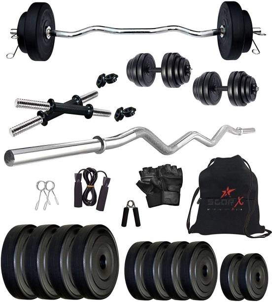 Star X 25 kg 25Kg PVC weight with 3ft Curl Rod and Accessories Home Gym Combo