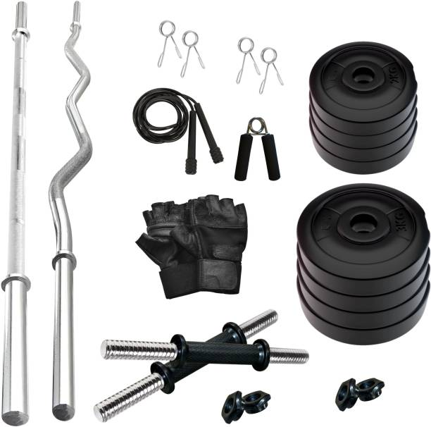 Adrenex by Flipkart 20 kg 20 kg Portable COMBO with Straight, Curl and Dumbbell Rods Home Gym Combo