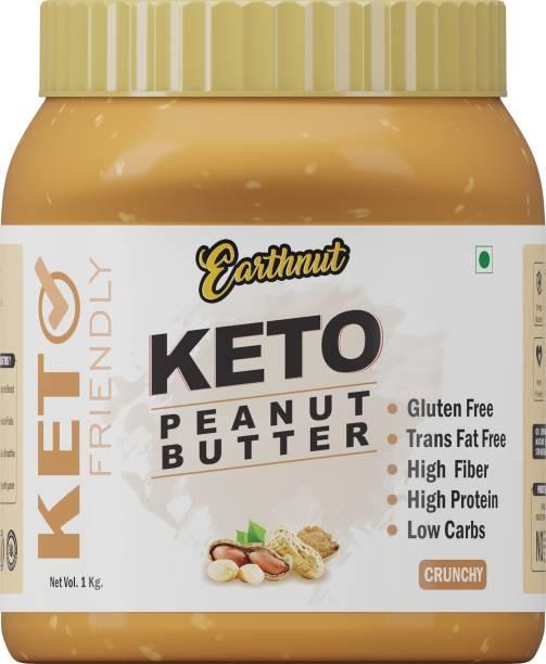 Earthnut Keto Crunchy Peanut Butter 1kg (Unsweetened) (No Hydrogenated/Palm Oil) 1 kg