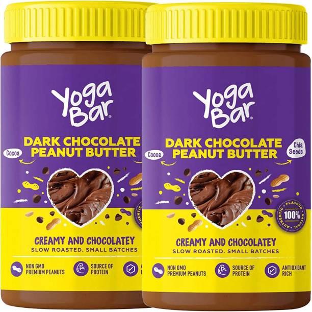Yogabar Peanut Butter | Dark Chocolate, 2 x 400g | Creamy & Chocolatey | Chocolate Peanut Butter made from Slow Roasted Peanuts | Non-GMO Premium Peanuts, Suitable for Vegan & Keto Diets 800