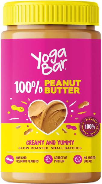 Yogabar  100% Pure Peanut Butter Non-GMO Premium Peanuts No Added Sugar 400 g