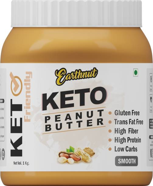 Earthnut Keto Smooth Peanut Butter 1kg (Unsweetened) (No Hydrogenated/Palm Oil) 1 kg