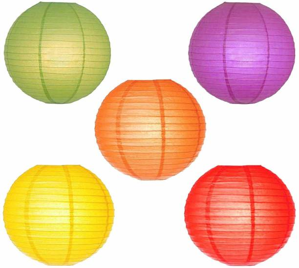 Rangwell Hanging Lantern Rice Paper Ball Lamp Shade without Light (12inch, Mix Colour) - Pack of 5 Multicolor Paper Hanging Lantern