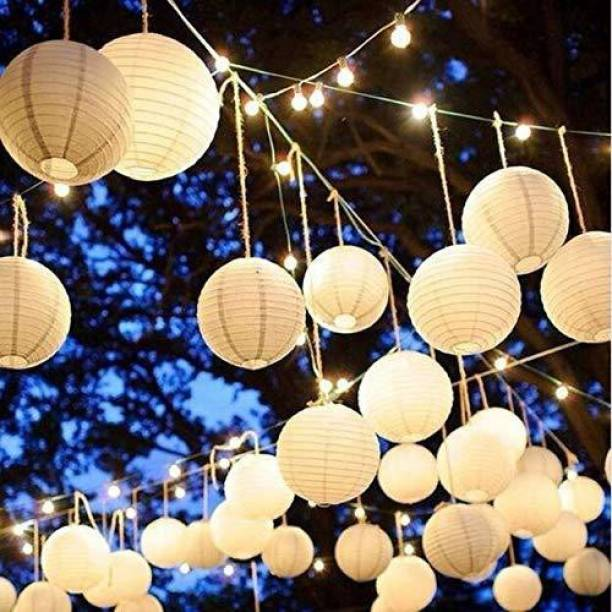 Rangwell Rice Paper Hanging Lantern Ball Lamp Shade, 12-inch (White, Pack of 10) White Paper Hanging Lantern