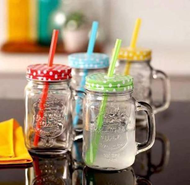 JVR Jar Bottle with Handle, Colored Cap Lid & Straw for Juice / Cocktail / Mocktail Glass Mason Jar (500 ml, Pack of 4) Glass Mason Jar
