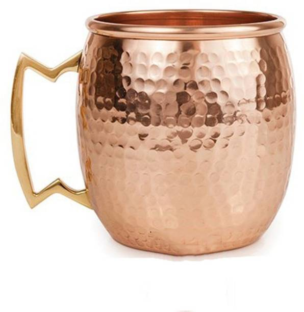 STYLE HOMEZ Pure Copper Moscow Mule Lacquer Coated, 500 ML Handmade Hammered Design Copper Coffee Mug