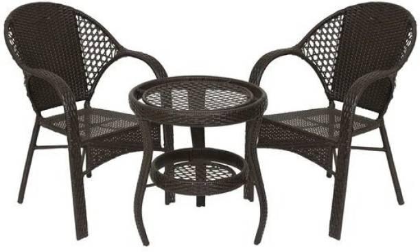 spacepanda Mocha Brown Metal Table & Chair Set