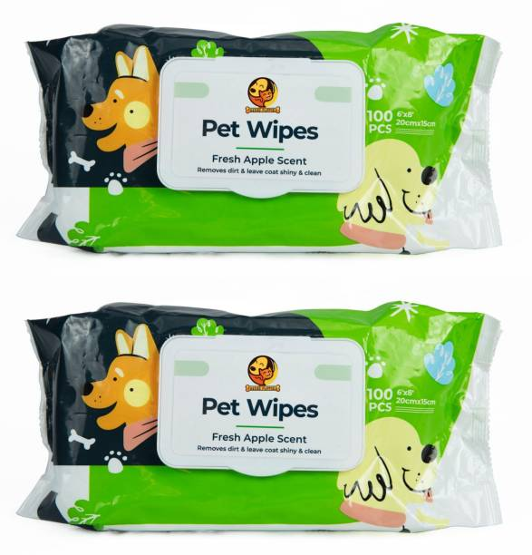 """Foodie Puppies Wet Pet Wipes for Dogs, Puppies & Pets with Fresh Apple Scent- - Pack of 2, 6""""x 8"""" - 100pcs Pet Ear Eye Wipes"""