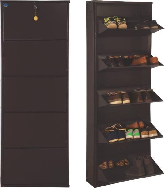 Delite Kom 24 Inches wide Jumbo Five Door Double Decker Powder Coated Wall Mounted Metallic Coffee Metal Shoe Rack