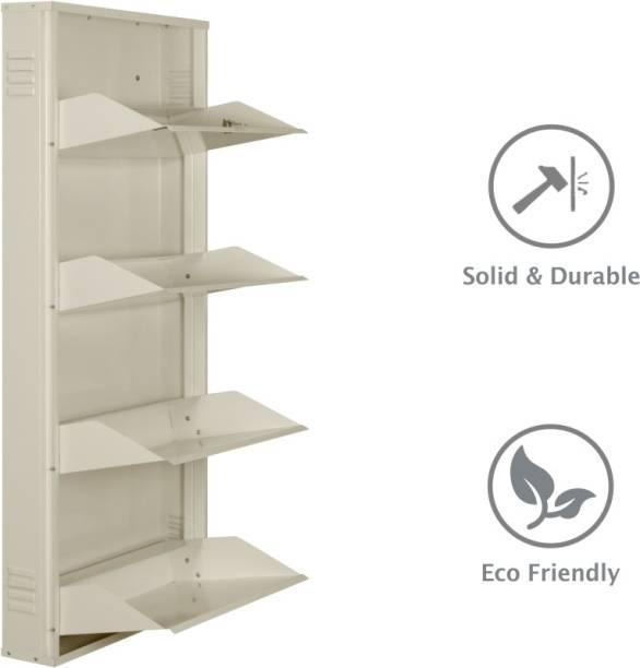 Delite Kom 24 Inches wide Infinity Four Door Powder Coated Wall Mounted Metallic Ivory Metal Shoe Rack