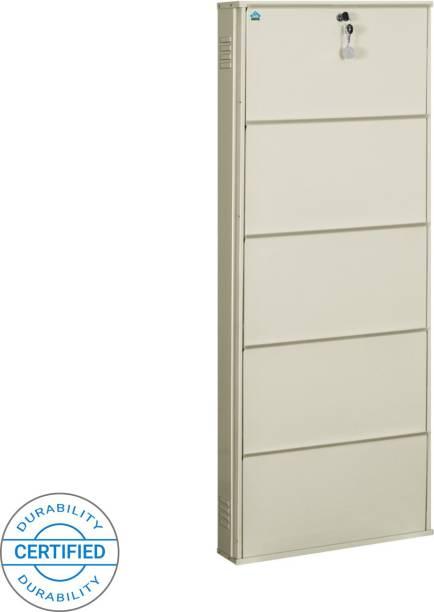 Delite Kom 24 Inches wide Infinity Five Door Powder Coated Wall Mounted Metallic Ivory Metal Shoe Rack